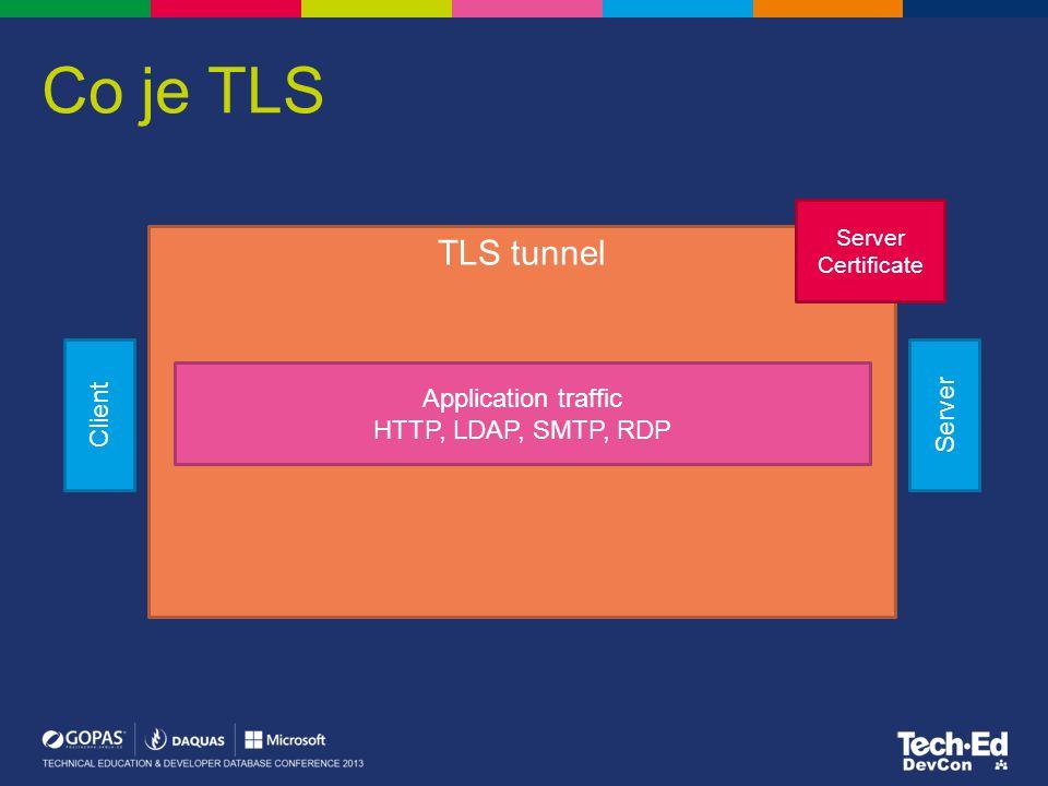 Co je TLS Client Server TLS tunnel Server Certificate Application traffic HTTP, LDAP, SMTP, RDP
