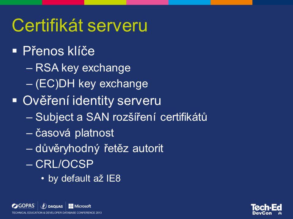 Ochrana proti renego útoku (KB980436)  Nainstalujte KB980436 –jak na servery tak klienty –tím pádem klienti i servery automaticky dělají secure renegotiation –servery i klienti přidávají do komunikace Renego Indication Extension, aby to druhá strana věděla –by default všichni dělají secure renego, ale přijímají i insecure renego  Pokud chcete vynutit secure renego, zapněte v registrech –HKLM\System\CCS\Control\SecurityProviders\SCHANNEL na serveru: AllowInsecureRenegoClients = DWORD = 0 na klientovi: AllowInsecureRenegoServers = DWORD = 0 –Klienti se nepřipojí na server, který neumí secure renego (RFC 5746) bez ohledu na to, jestli je nebo není potřeba renego –Servery odmítnou klienty, kteří neumí secure renego bez ohledu na to, jestli je nebo není potřeba renego  Pokud máte bez ohledu na registry problém, že se klienti nemohou někam připojit, i když není zrovna renego vůbec potřeba, zapněte na klientech –UseScsvForTls = DWORD = 1 –místo Renegotiation Indication Extension to posílá suitu 00FF, která neRFC5746 serverům nevadí