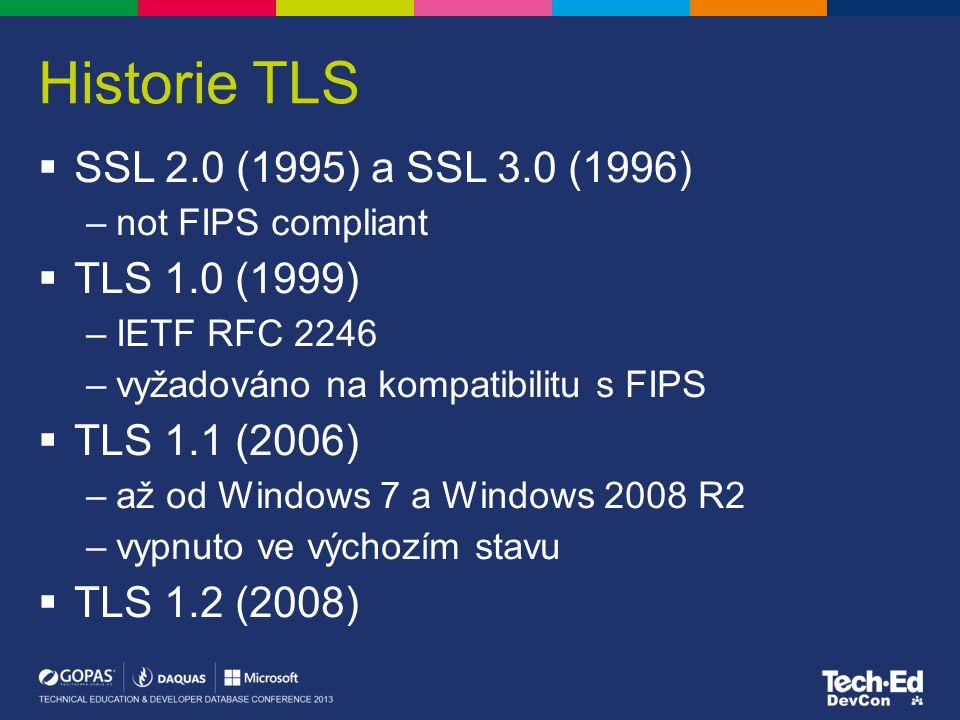 Historie TLS  SSL 2.0 (1995) a SSL 3.0 (1996) –not FIPS compliant  TLS 1.0 (1999) –IETF RFC 2246 –vyžadováno na kompatibilitu s FIPS  TLS 1.1 (2006