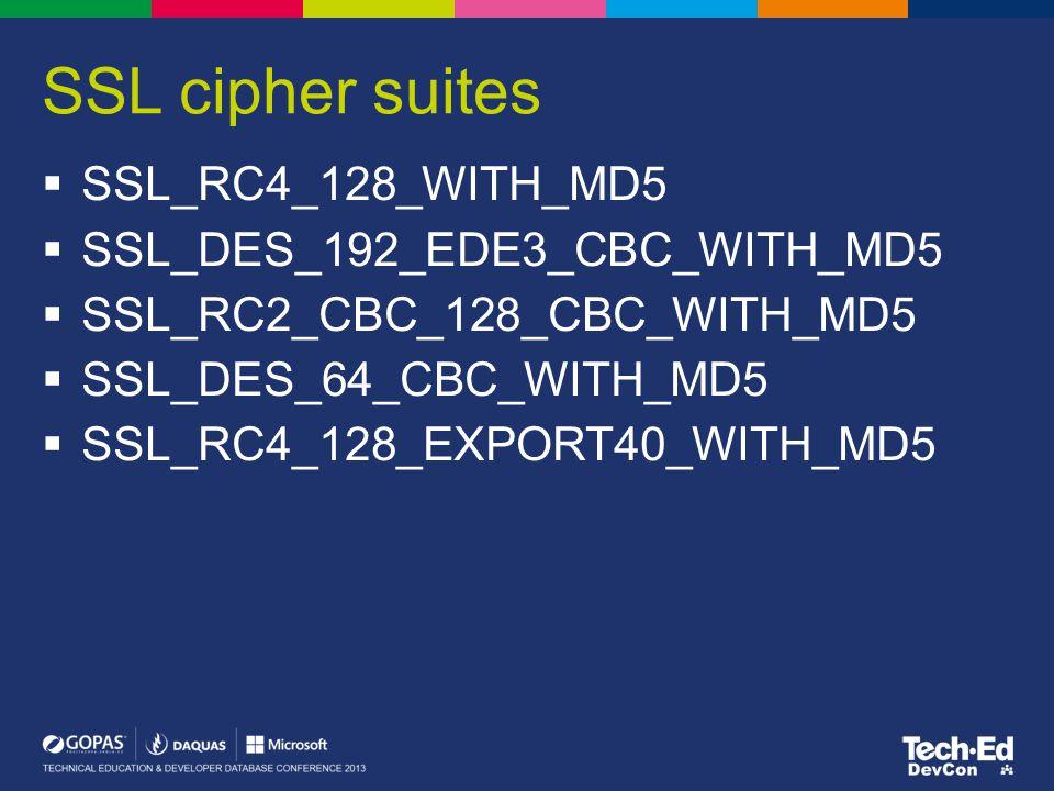 Windows XP/2003- TLS 1.0/SSL cipher suites (no AES)  TLS_RSA_WITH_RC4_128_MD5  TLS_RSA_WITH_RC4_128_SHA  TLS_RSA_WITH_3DES_EDE_CBC_SHA  TLS_DHE_DSS_WITH_3DES_EDE_CBC_SHA  TLS_RSA_WITH_DES_CBC_SHA  TLS_DHE_DSS_WITH_DES_CBC_SHA  TLS_RSA_EXPORT1024_WITH_RC4_56_SHA  TLS_RSA_EXPORT1024_WITH_DES_CBC_SHA  TLS_DHE_DSS_EXPORT1024_WITH_DES_CBC_SHA  TLS_RSA_EXPORT_WITH_RC4_40_MD5  TLS_RSA_EXPORT_WITH_RC2_CBC_40_MD5  TLS_RSA_WITH_NULL_MD5  TLS_RSA_WITH_NULL_SHA  SSL_RSA_WITH_RC4_128_SHA  SSL_RSA_WITH_3DES_EDE_CBC_SHA  SSL_DHE_DSS_WITH_3DES_EDE_CBC_SHA  SSL_RSA_WITH_RC4_128_MD5