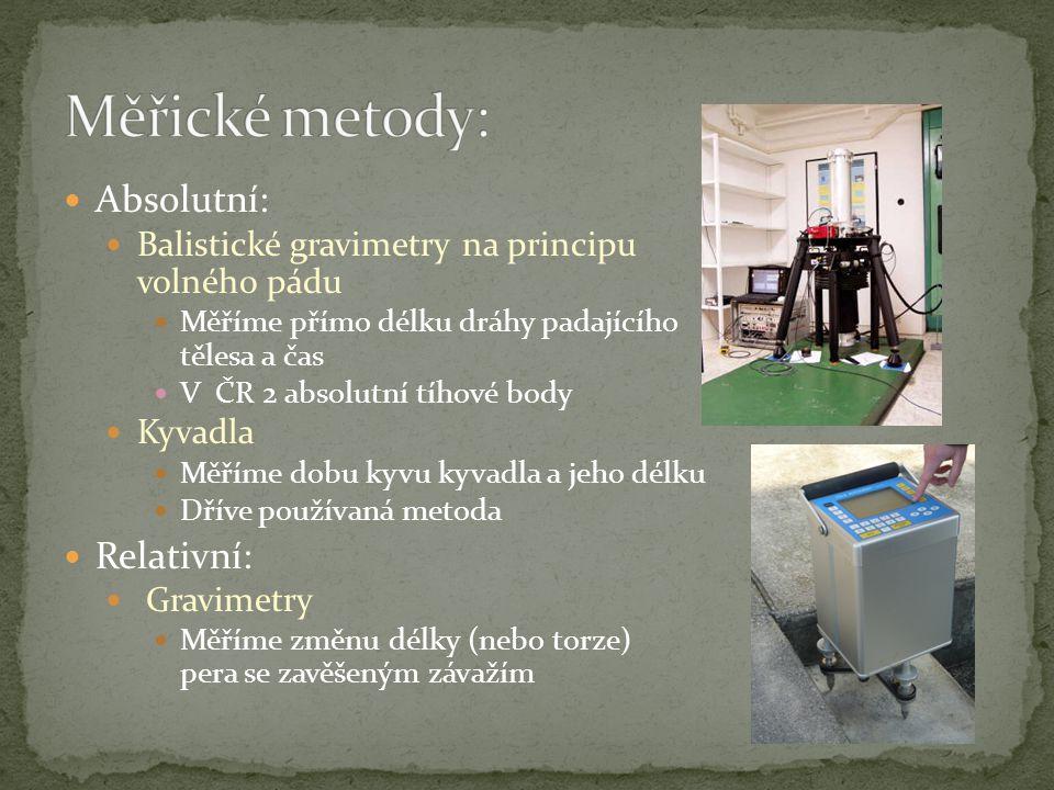 Rakouská kyvadlová měření (1889-1895) Československá kyvadlová měření (1936-1939) Německá kyvadlová měření (1939-1943) Gravimetrická síť (1948-1954) Československá státní gravimetrická síť 1964 Jednotná gravimetrická síť (1982-1985) Tíhový systém 1995 – S-Gr95