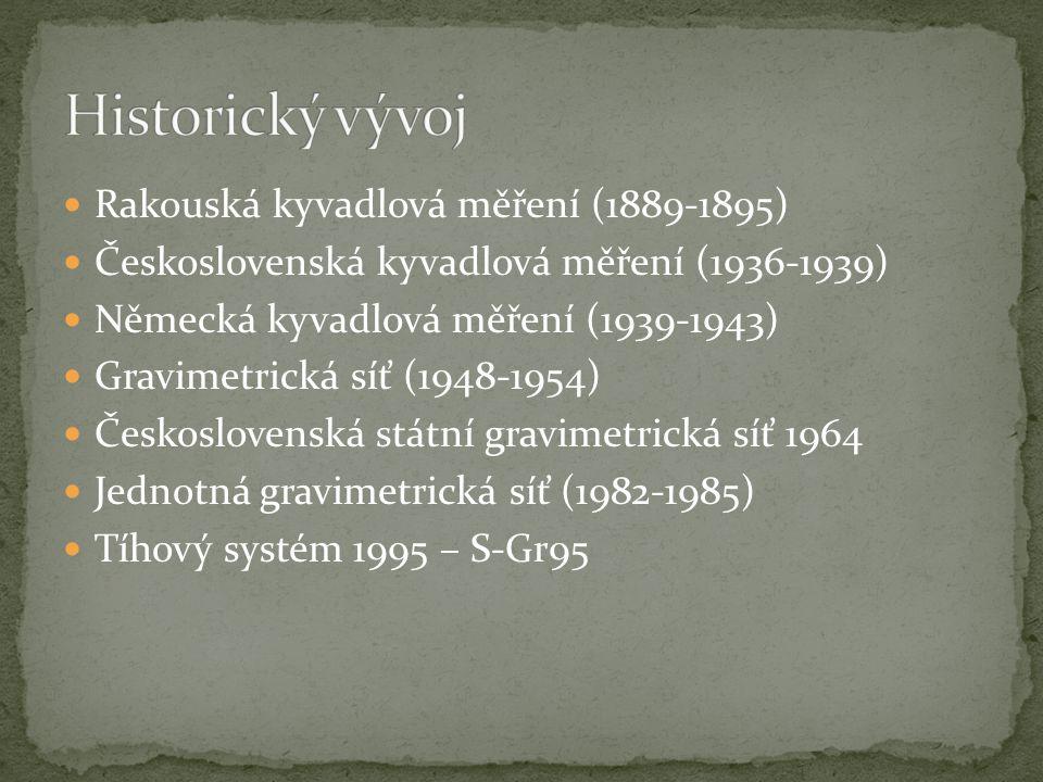 V letech 1889-1895 Byla měřena Robertem Sterneckem a jeho spolupracovníky z rakouského Vojenského zeměpisného ústavu V Čechách a na Moravě 107 a na Slovensku 35 kyvadlových stanic Přesnost měření byla ±13 mGal