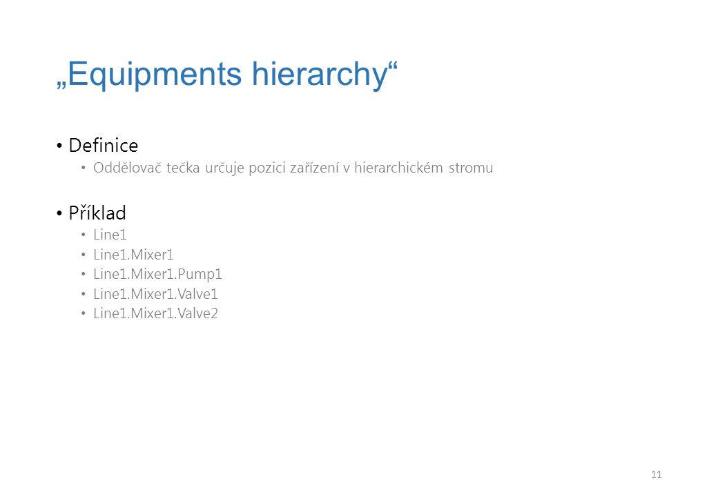 """Definice Oddělovač tečka určuje pozici zařízení v hierarchickém stromu Příklad Line1 Line1.Mixer1 Line1.Mixer1.Pump1 Line1.Mixer1.Valve1 Line1.Mixer1.Valve2 """"Equipments hierarchy 11"""