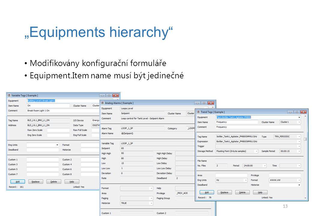 """Modifikovány konfigurační formuláře Equipment.Item name musí být jedinečné """"Equipments hierarchy 13"""