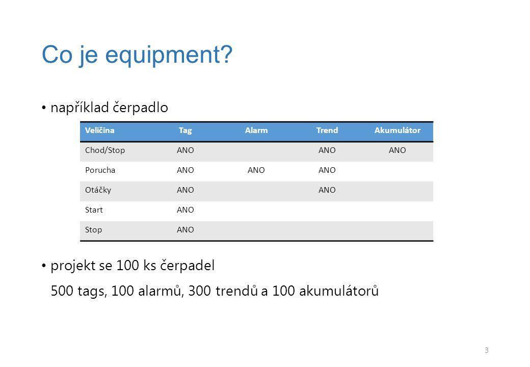 například čerpadlo projekt se 100 ks čerpadel 500 tags, 100 alarmů, 300 trendů a 100 akumulátorů Co je equipment.