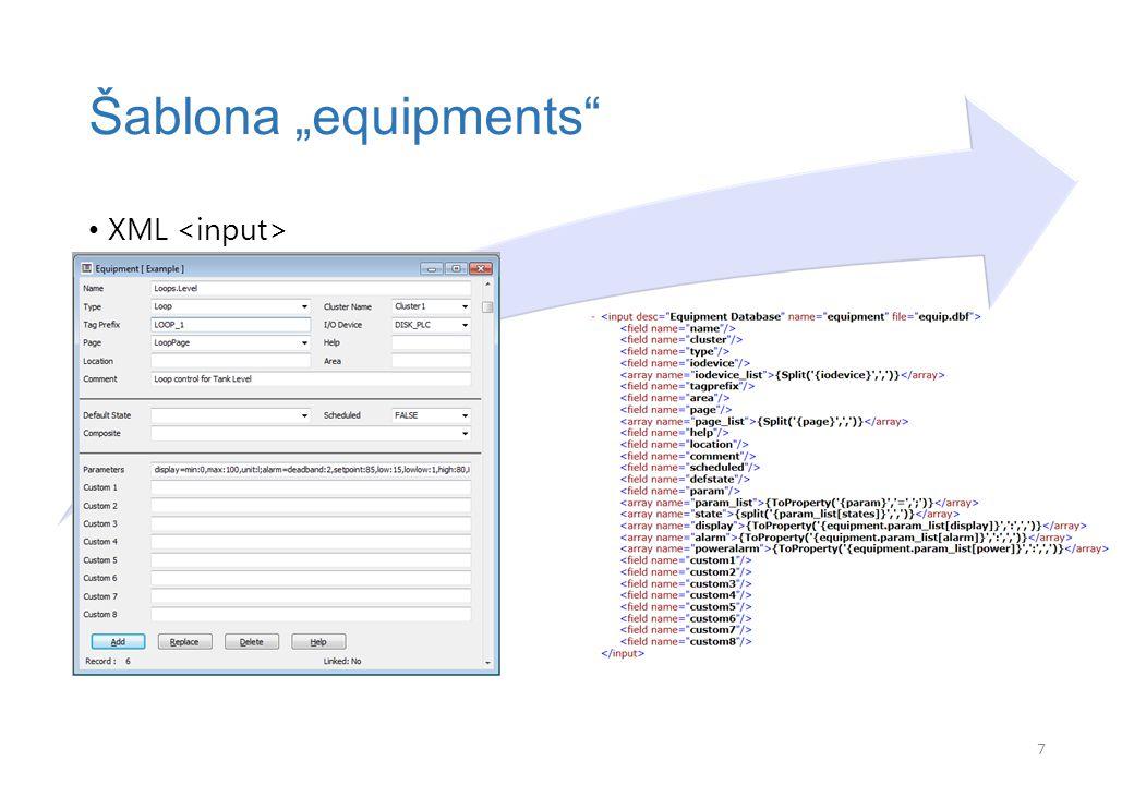"""XML Šablona """"equipments 8"""