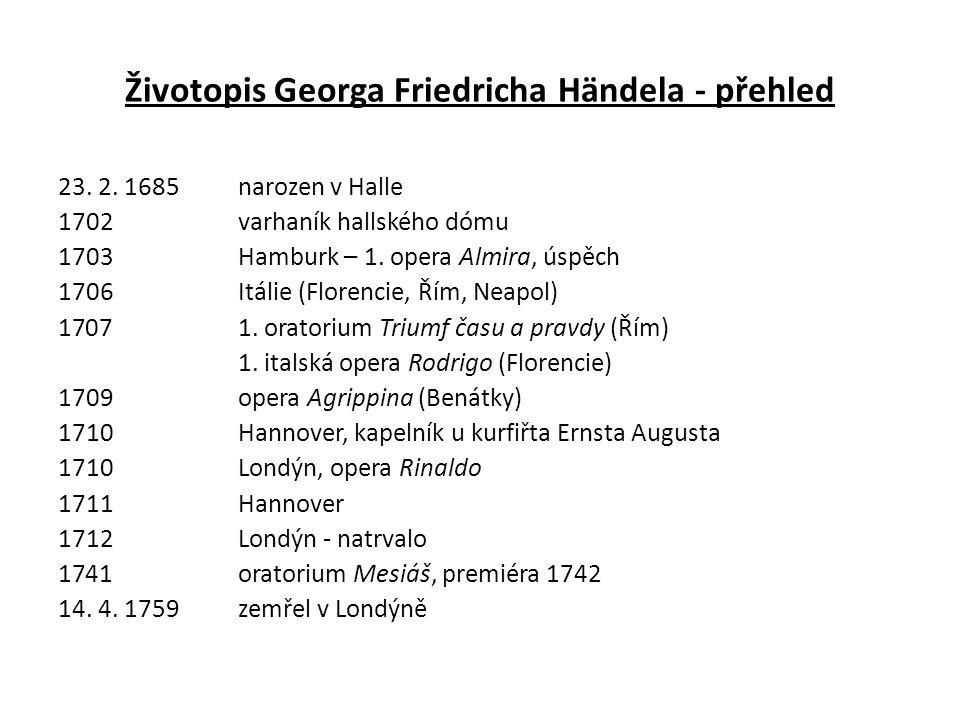 Životopis Georga Friedricha Händela - přehled 23. 2.