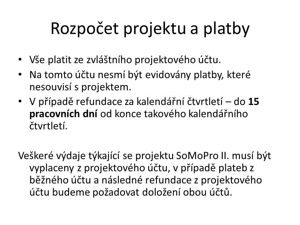 Rozpočet projektu a platby Vše platit ze zvláštního projektového účtu.