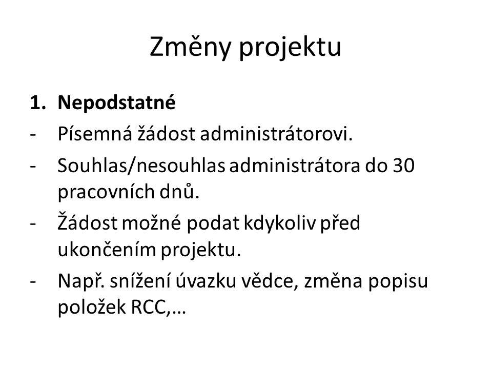 Změny projektu 1.Nepodstatné -Písemná žádost administrátorovi.