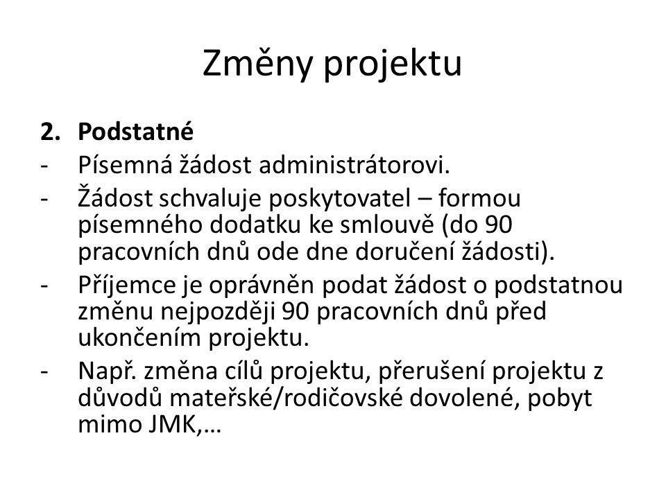 Změny projektu 2.Podstatné -Písemná žádost administrátorovi. -Žádost schvaluje poskytovatel – formou písemného dodatku ke smlouvě (do 90 pracovních dn