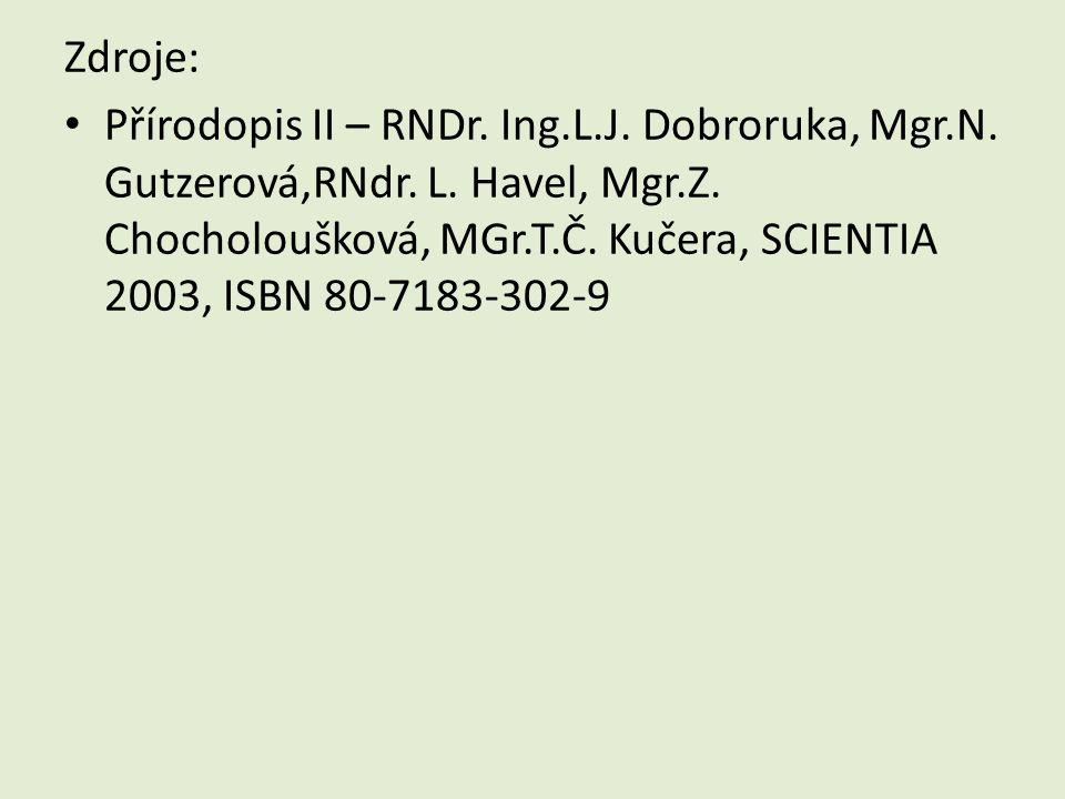 Zdroje: Přírodopis II – RNDr. Ing.L.J. Dobroruka, Mgr.N. Gutzerová,RNdr. L. Havel, Mgr.Z. Chocholoušková, MGr.T.Č. Kučera, SCIENTIA 2003, ISBN 80-7183