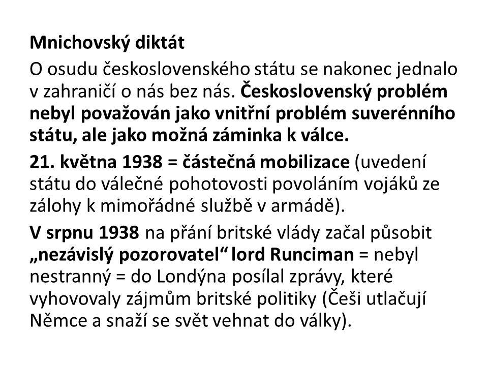 Mnichovský diktát O osudu československého státu se nakonec jednalo v zahraničí o nás bez nás. Československý problém nebyl považován jako vnitřní pro