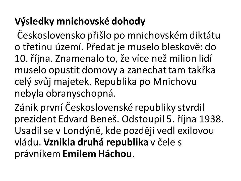 Výsledky mnichovské dohody Československo přišlo po mnichovském diktátu o třetinu území. Předat je muselo bleskově: do 10. října. Znamenalo to, že víc
