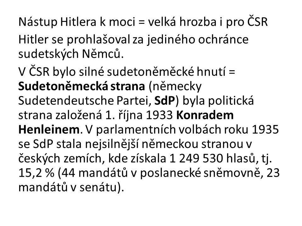 Nástup Hitlera k moci = velká hrozba i pro ČSR Hitler se prohlašoval za jediného ochránce sudetských Němců. V ČSR bylo silné sudetoněměcké hnutí = Sud