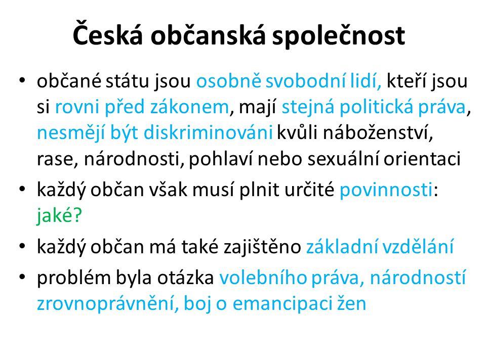 Česká občanská společnost občané státu jsou osobně svobodní lidí, kteří jsou si rovni před zákonem, mají stejná politická práva, nesmějí být diskriminováni kvůli náboženství, rase, národnosti, pohlaví nebo sexuální orientaci každý občan však musí plnit určité povinnosti: jaké.