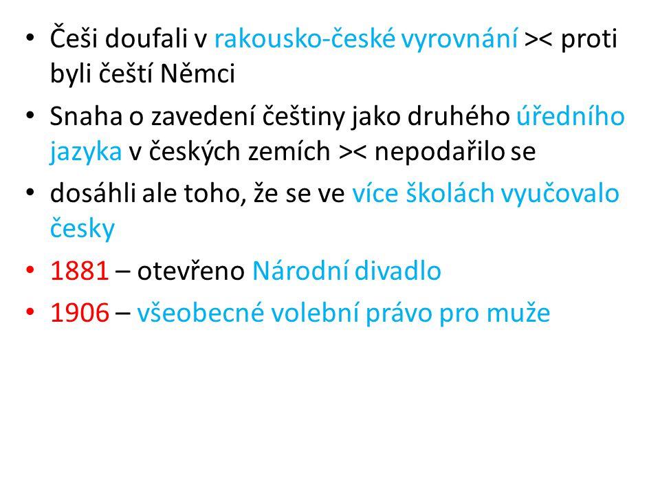 Češi doufali v rakousko-české vyrovnání >< proti byli čeští Němci Snaha o zavedení češtiny jako druhého úředního jazyka v českých zemích >< nepodařilo