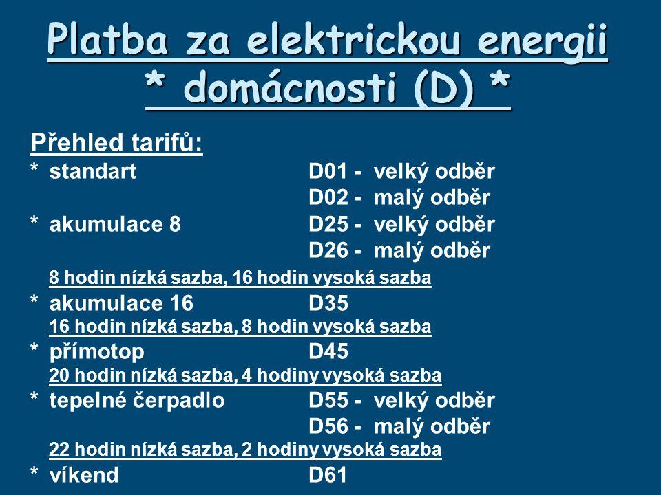 Platba za elektrickou energii * domácnosti (D) * Přehled tarifů: *standartD01-velký odběr D02-malý odběr *akumulace 8D25-velký odběr D26- malý odběr 8 hodin nízká sazba, 16 hodin vysoká sazba *akumulace 16D35 16 hodin nízká sazba, 8 hodin vysoká sazba *přímotopD45 20 hodin nízká sazba, 4 hodiny vysoká sazba *tepelné čerpadloD55-velký odběr D56-malý odběr 22 hodin nízká sazba, 2 hodiny vysoká sazba *víkendD61