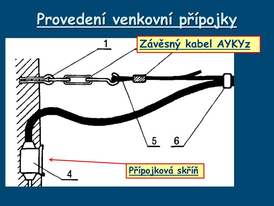 Provedení venkovní přípojky Přípojková skříň Závěsný kabel AYKYz