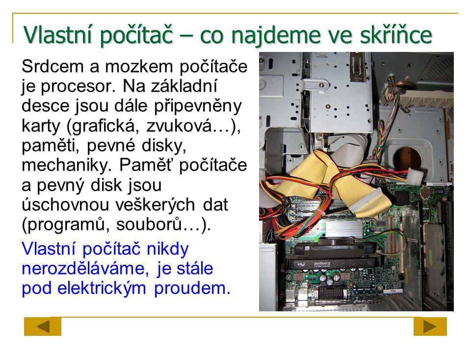 Vlastní počítač – co najdeme ve skříňce Srdcem a mozkem počítače je procesor. Na základní desce jsou dále připevněny karty (grafická, zvuková…), pamět