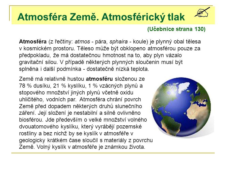 Atmosféra Země. Atmosférický tlak (Učebnice strana 130) Atmosféra (z řečtiny: atmos - pára, sphaira - koule) je plynný obal tělesa v kosmickém prostor