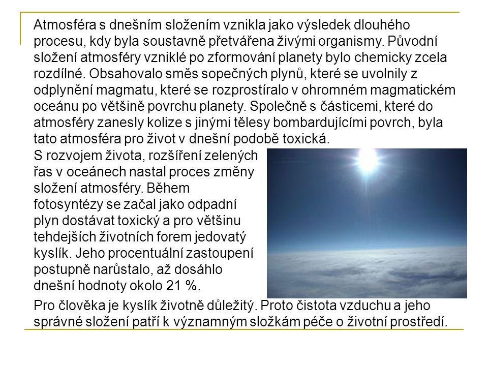 Horní vrstvy atmosféry působí v gravitačním poli Země tlakovou silou na spodní vrstvy atmosféry.