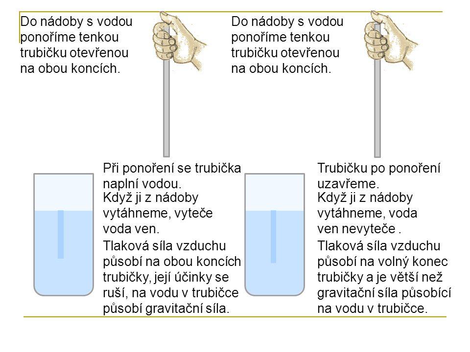 Do nádoby s vodou ponoříme tenkou trubičku otevřenou na obou koncích. Při ponoření se trubička naplní vodou. Do nádoby s vodou ponoříme tenkou trubičk