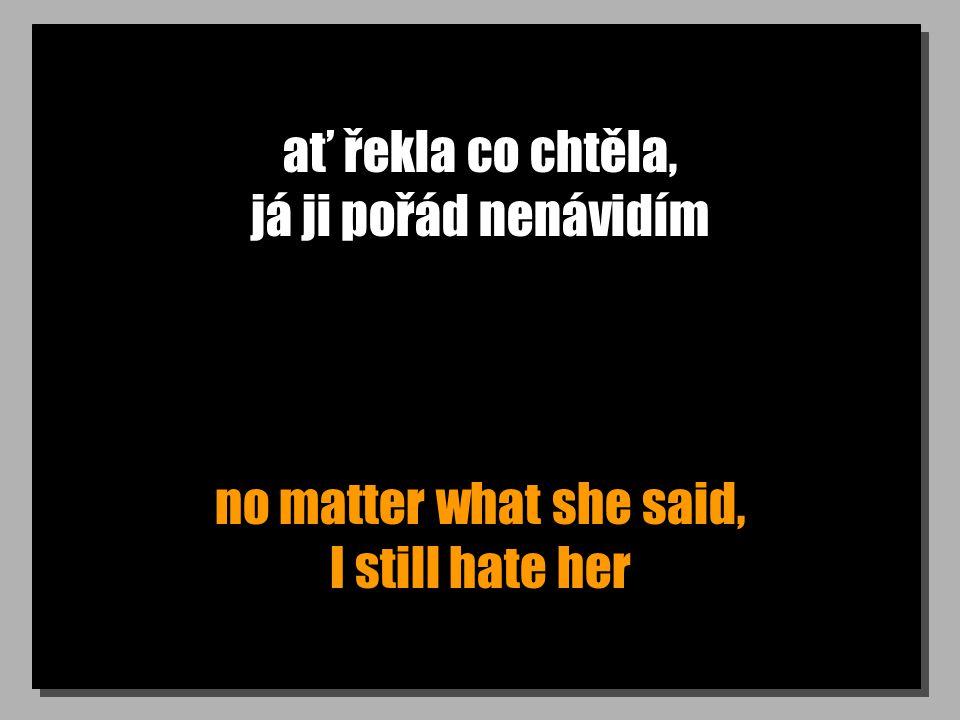 ať řekla co chtěla, já ji pořád nenávidím no matter what she said, I still hate her