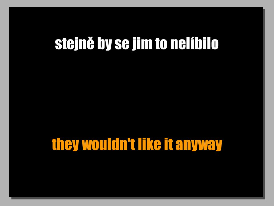 stejně by se jim to nelíbilo they wouldn t like it anyway