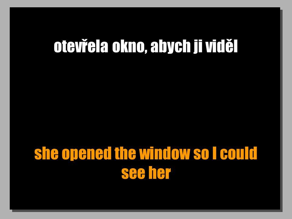 otevřela okno, abych ji viděl she opened the window so I could see her