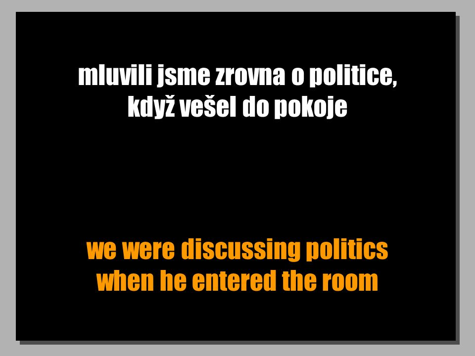 mluvili jsme zrovna o politice, když vešel do pokoje we were discussing politics when he entered the room