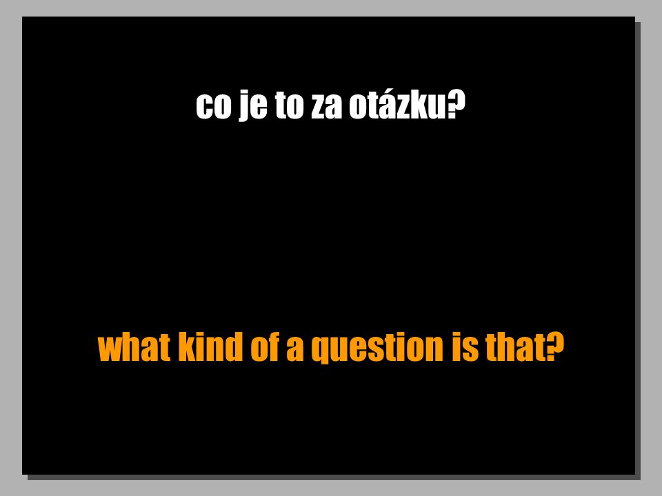 co je to za otázku? what kind of a question is that?