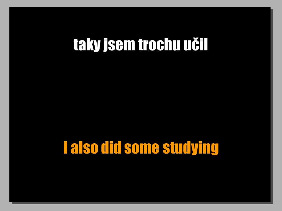 taky jsem trochu učil I also did some studying