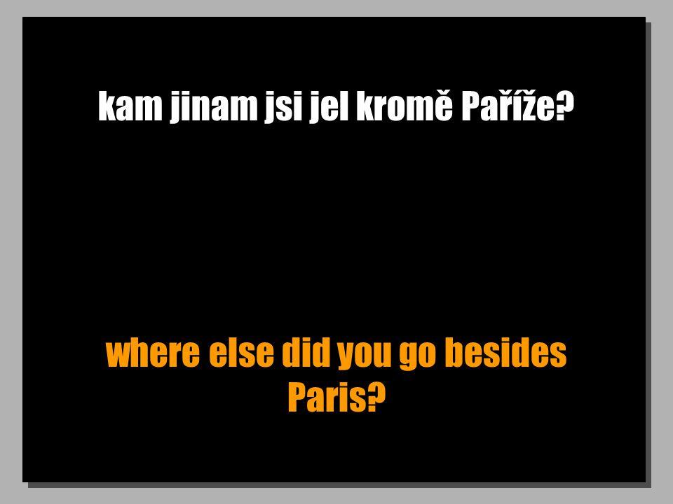 kam jinam jsi jel kromě Paříže? where else did you go besides Paris?