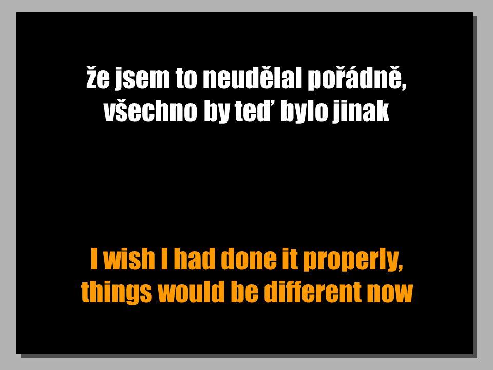 že jsem to neudělal pořádně, všechno by teď bylo jinak I wish I had done it properly, things would be different now