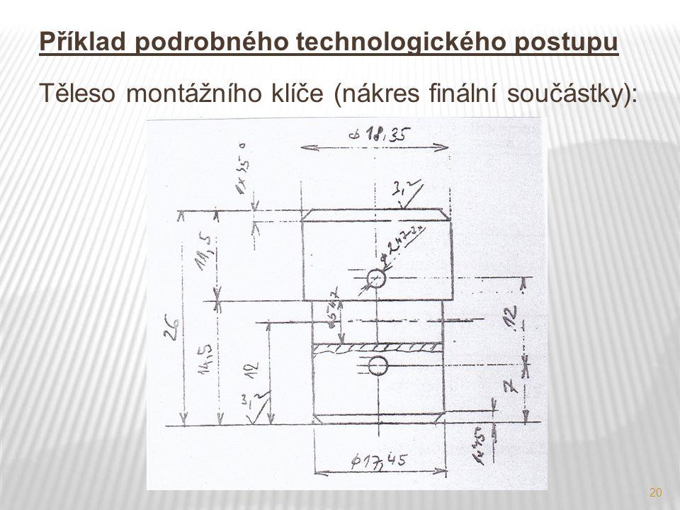 20 Příklad podrobného technologického postupu Těleso montážního klíče (nákres finální součástky):