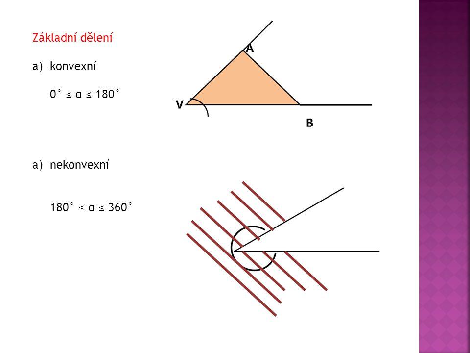Základní dělení a)konvexní 0° ≤ α ≤ 180° a)nekonvexní 180° < α ≤ 360°