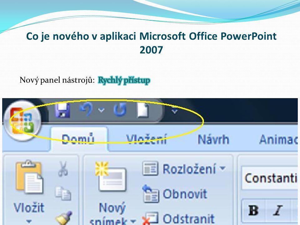 Co je nového v aplikaci Microsoft Office PowerPoint 2007