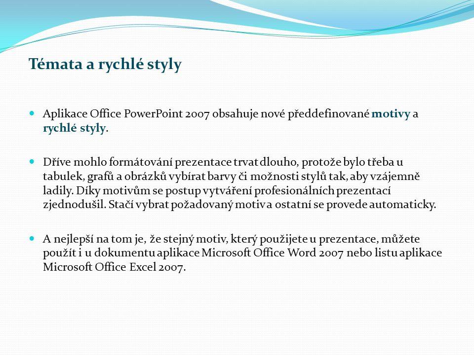 Témata a rychlé styly Aplikace Office PowerPoint 2007 obsahuje nové předdefinované motivy a rychlé styly. Dříve mohlo formátování prezentace trvat dlo