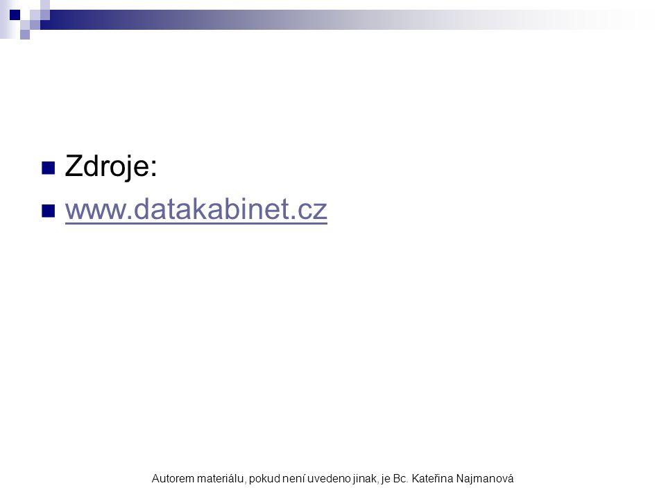 Zdroje: www.datakabinet.cz Autorem materiálu, pokud není uvedeno jinak, je Bc. Kateřina Najmanová