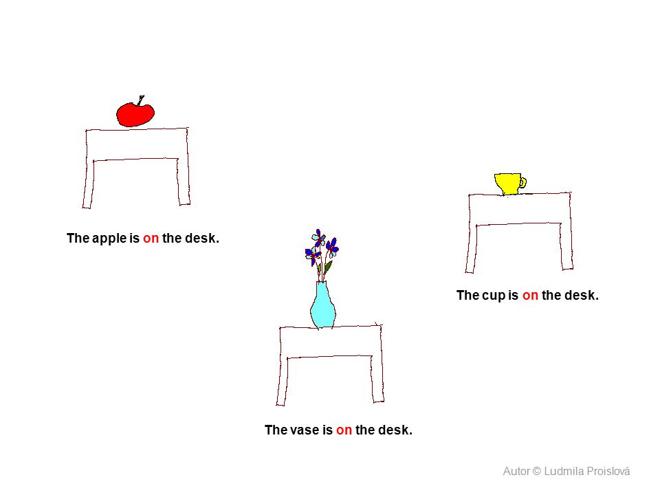 The apple is on the desk. The vase is on the desk. The cup is on the desk. Autor © Ludmila Proislová