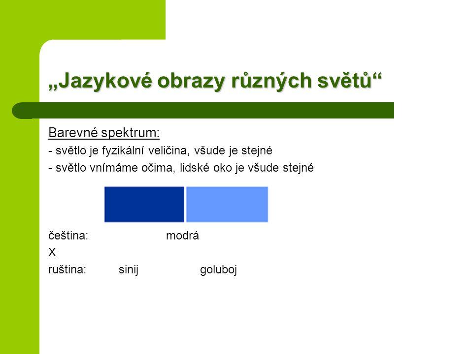 """""""Jazykové obrazy různých světů Barevné spektrum: - světlo je fyzikální veličina, všude je stejné - světlo vnímáme očima, lidské oko je všude stejné čeština: modrá X ruština: sinij goluboj"""