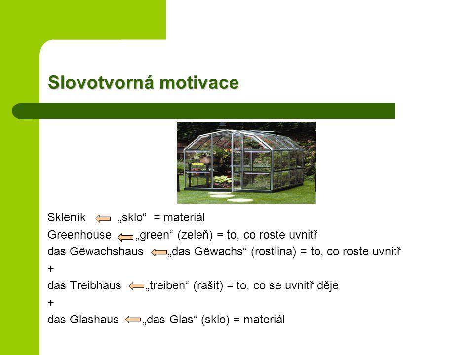 """Slovotvorná motivace Skleník """"sklo = materiál Greenhouse """"green (zeleň) = to, co roste uvnitř das Gëwachshaus """"das Gëwachs (rostlina) = to, co roste uvnitř + das Treibhaus """"treiben (rašit) = to, co se uvnitř děje + das Glashaus """"das Glas (sklo) = materiál"""