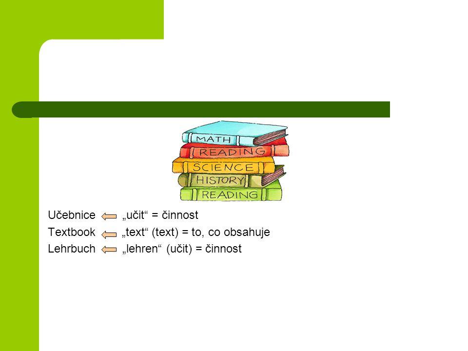 """Učebnice """"učit = činnost Textbook """"text (text) = to, co obsahuje Lehrbuch """"lehren (učit) = činnost"""