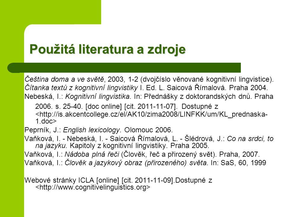 Použitá literatura a zdroje Čeština doma a ve světě, 2003, 1-2 (dvojčíslo věnované kognitivní lingvistice).