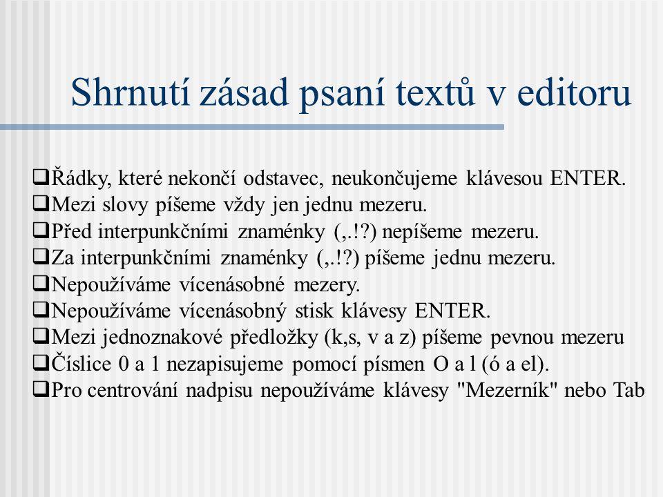 Shrnutí zásad psaní textů v editoru  Řádky, které nekončí odstavec, neukončujeme klávesou ENTER.  Mezi slovy píšeme vždy jen jednu mezeru.  Před in
