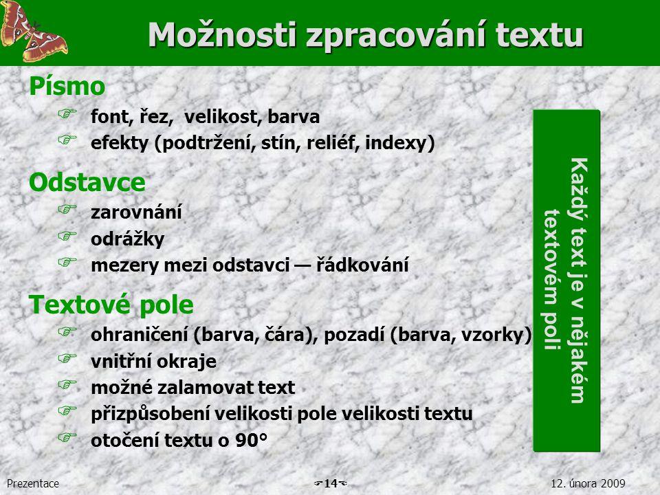 Prezentace  14  12. února 2009 Možnosti zpracování textu Písmo  font, řez, velikost, barva  efekty (podtržení, stín, reliéf, indexy) Odstavce  za