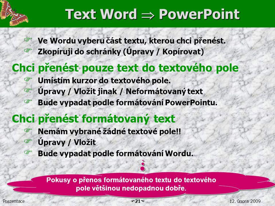 Prezentace  21  12. února 2009 Text Word  PowerPoint  Ve Wordu vyberu část textu, kterou chci přenést.  Zkopíruji do schránky (Úpravy / Kopírovat