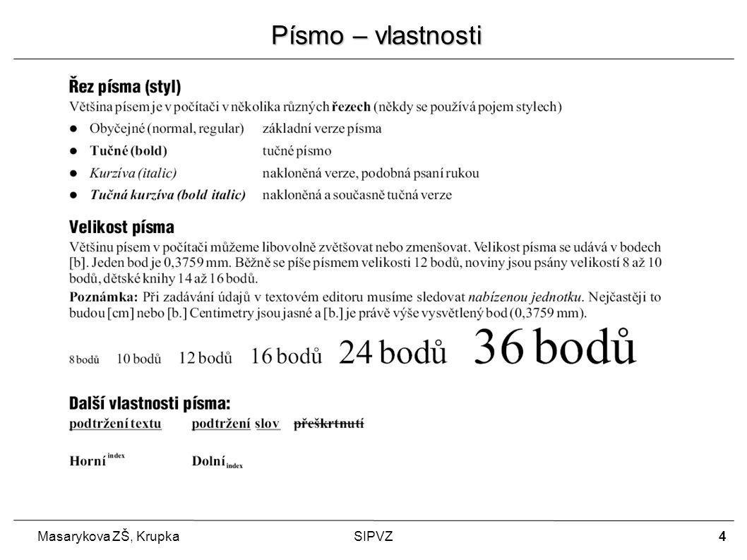 5 Masarykova ZŠ, KrupkaSIPVZ Odstavec – vlastnosti Při opisování knih bylo základním prvkem písmeno – litera.