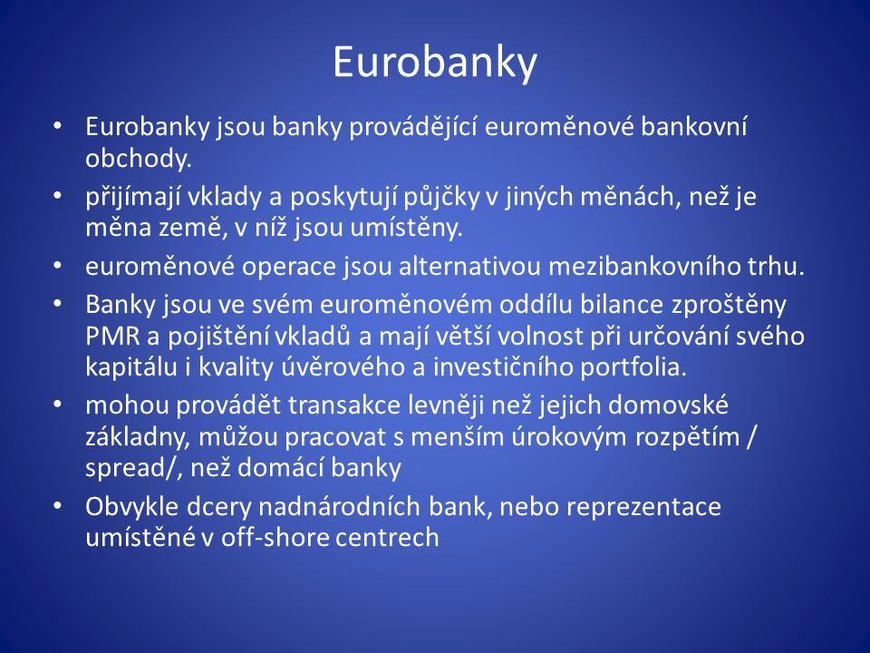 Eurobanky Eurobanky jsou banky provádějící euroměnové bankovní obchody.