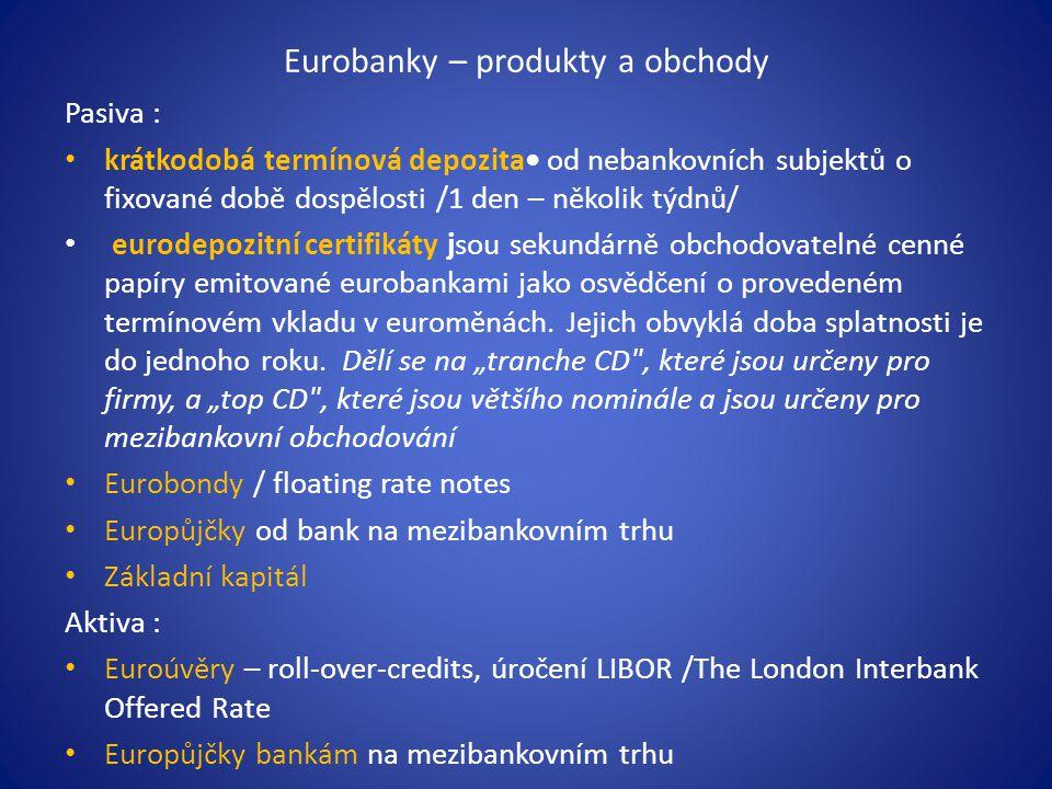 Eurobanky – produkty a obchody Pasiva : krátkodobá termínová depozita od nebankovních subjektů o fixované době dospělosti /1 den – několik týdnů/ eurodepozitní certifikáty jsou sekundárně obchodovatelné cenné papíry emitované eurobankami jako osvědčení o provedeném termínovém vkladu v euroměnách.